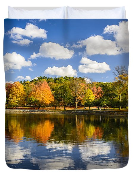Reservoir In Autumn Duvet Cover