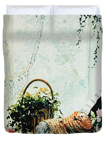 Rest From Garden Chores Duvet Cover by Hanne Lore Koehler