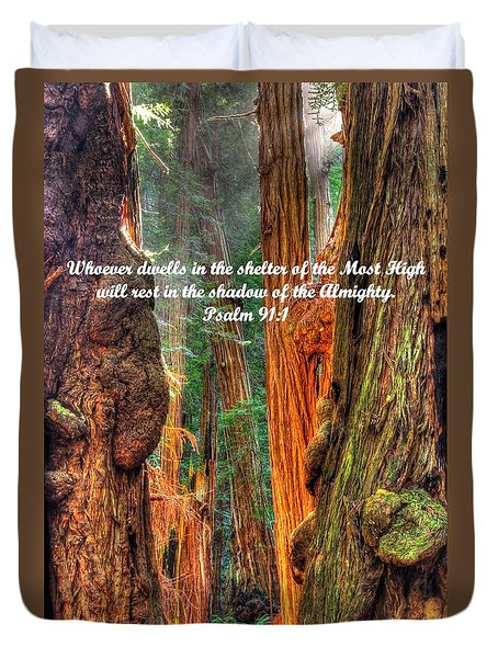 Rest In The Shadow Of The Almighty - Psalm 91.1 - From Sunlight Beams Into The Grove At Muir Woods Duvet Cover