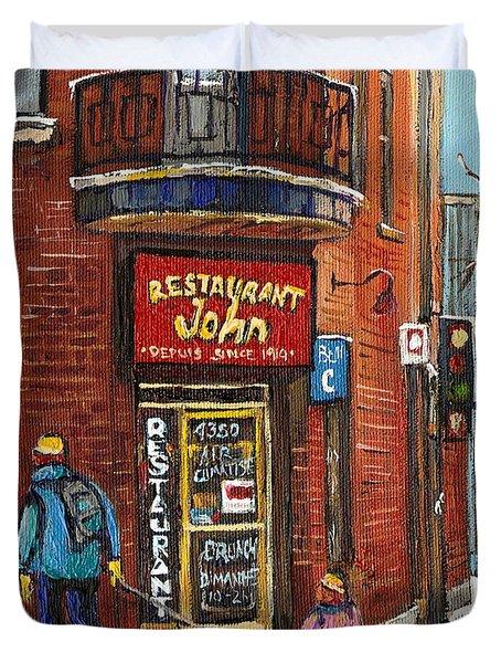 Restaurant John Duvet Cover by Carole Spandau