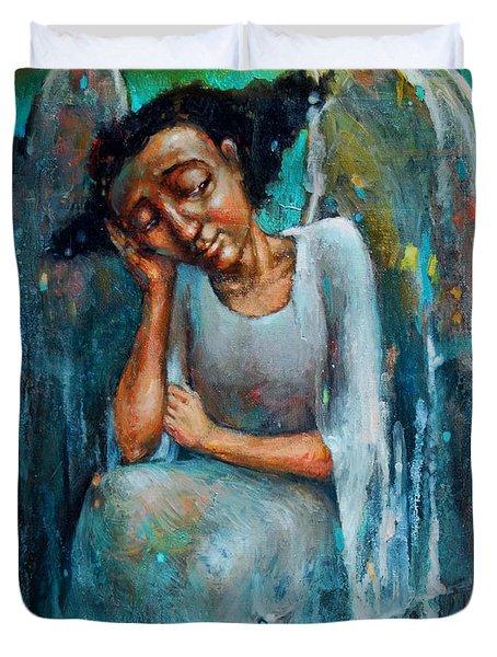 Resting Angel Duvet Cover by Michal Kwarciak