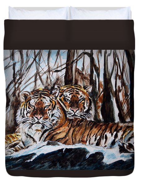 Duvet Cover featuring the painting Resting by Harsh Malik