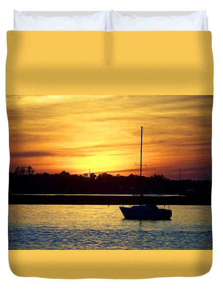 Duvet Cover featuring the photograph Resting In A Mango Sunset by Sandi OReilly