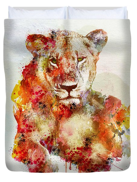 Resting Lioness In Watercolor Duvet Cover