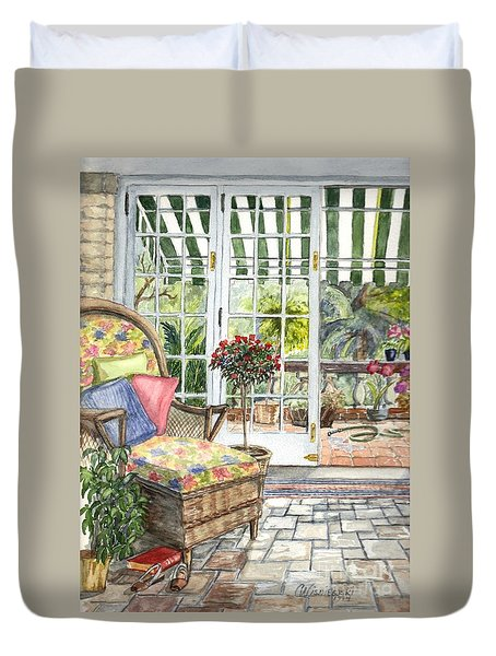 Resting On The Lanai Part 1 Duvet Cover by Carol Wisniewski