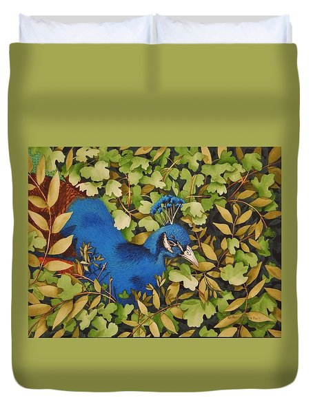Resting Peacock Duvet Cover by Katherine Young-Beck