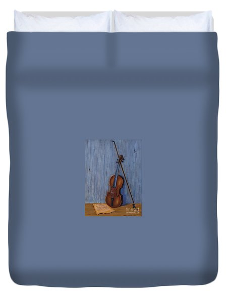 Resting Violin Duvet Cover