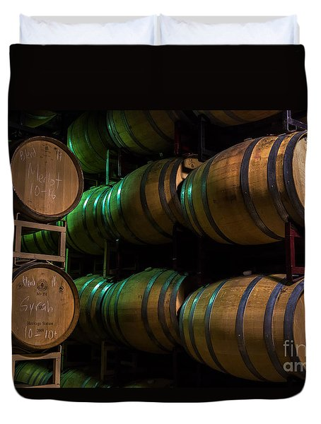 Resting Wine Barrels Duvet Cover