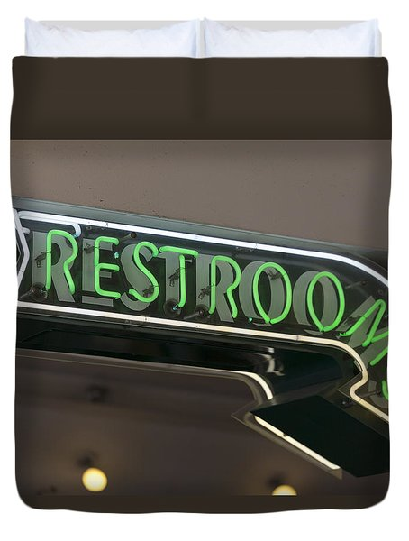 Restrooms In Neon Duvet Cover