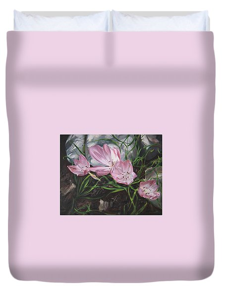 Resurrection Lilies Duvet Cover by Jane Autry