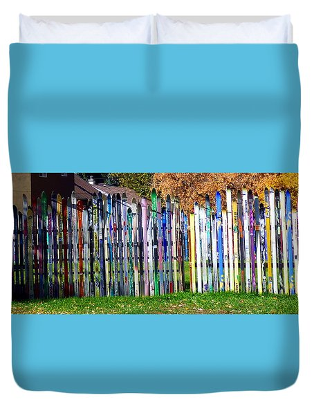 Duvet Cover featuring the photograph Retired Skis  by Jackie Carpenter