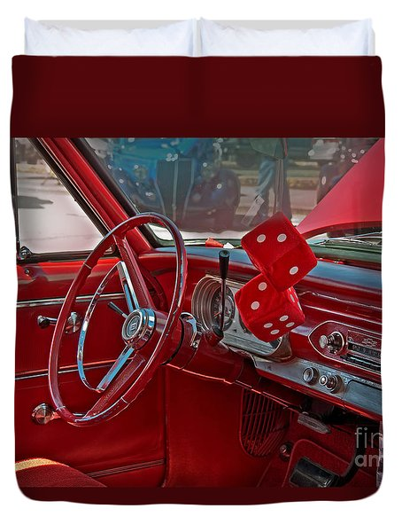 Duvet Cover featuring the photograph Retro Chevy Car Interior Art Prints by Valerie Garner