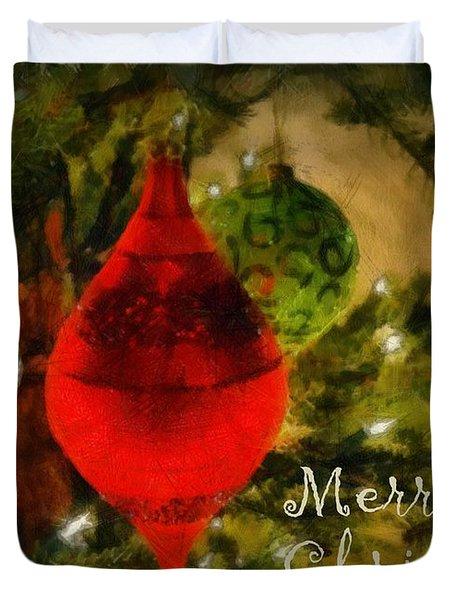 Retro Christmas Duvet Cover by Michelle Calkins