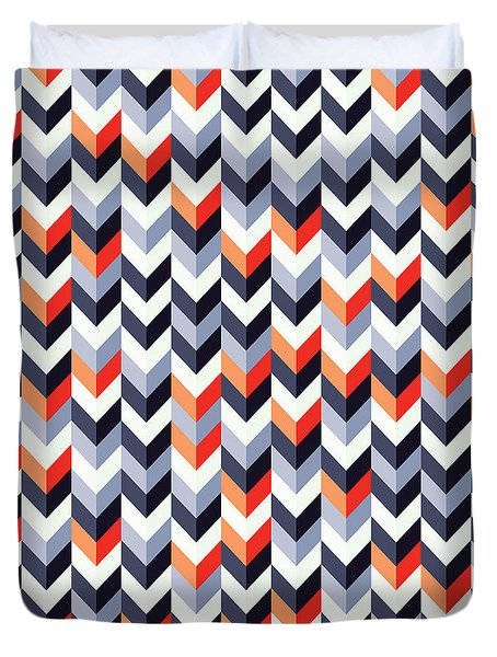 Retro Geometric Duvet Cover by Mike Taylor