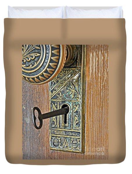 Retro Intricate Door Knob And Metal Key Art Prints Duvet Cover