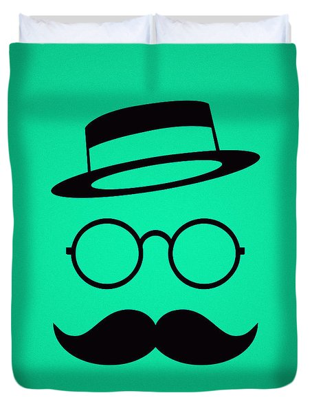 Retro Minimal Vintage Face With Moustache And Glasses Duvet Cover