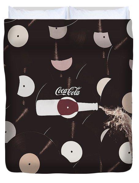 Retro Music Diner Background Duvet Cover