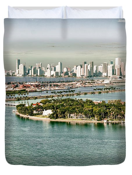 Retro Style Miami Skyline And Biscayne Bay Duvet Cover