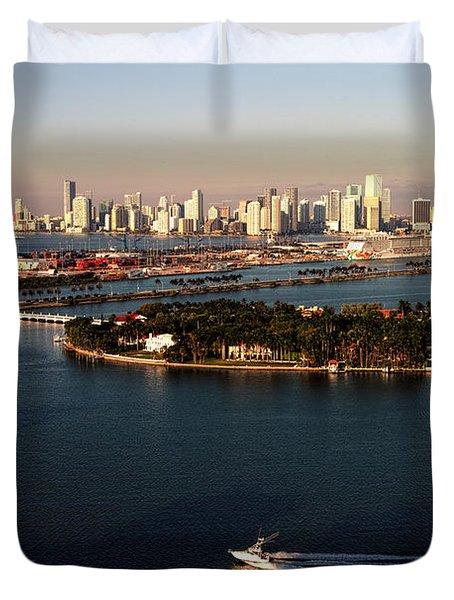 Retro Style Miami Skyline Sunrise And Biscayne Bay Duvet Cover