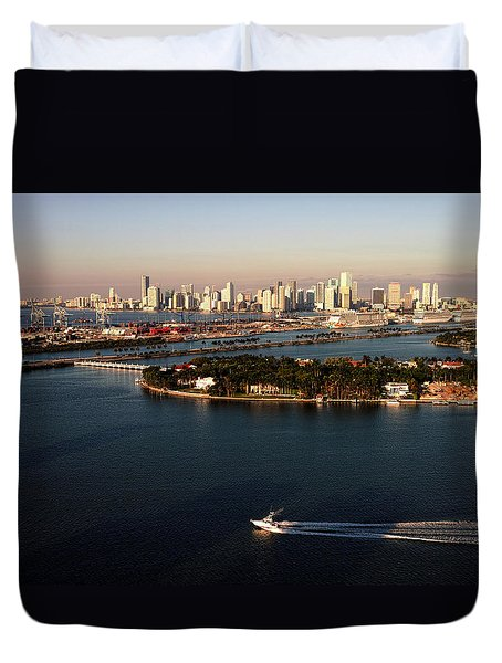 Retro Style Miami Skyline Sunrise And Biscayne Bay Duvet Cover