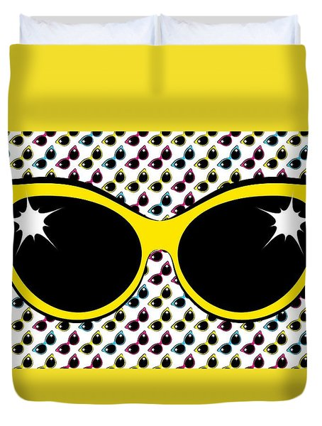 Retro Yellow Cat Sunglasses Duvet Cover