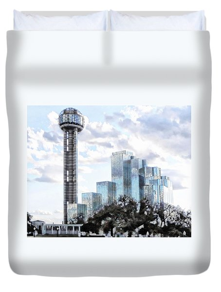 Duvet Cover featuring the photograph Reunion Tower Dallas Texas by Kathy Churchman
