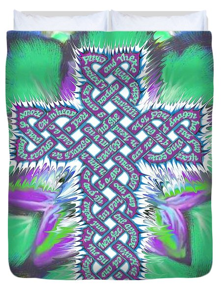 Duvet Cover featuring the painting Rev 12 Cross Flower by Hidden  Mountain