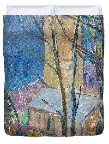 Reverend Hawkers Church At Morwenstow IIi Oil On Canvas Duvet Cover