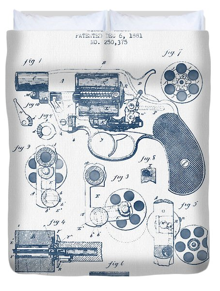 Revolving Firearm Patent Drawing From 1881 -  Blue Ink Duvet Cover