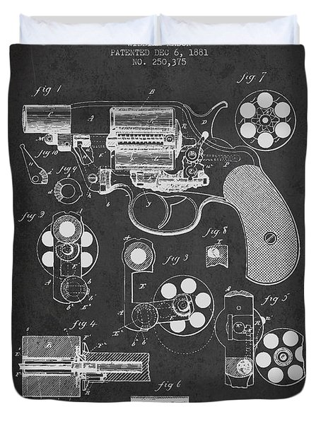Revolving Firearm Patent Drawing From 1881 - Dark Duvet Cover