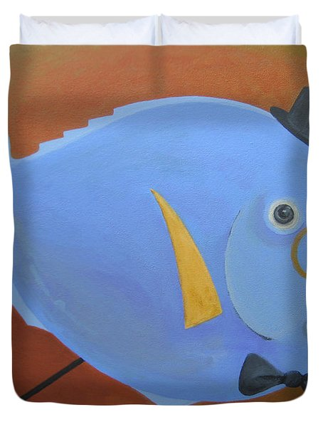 Duvet Cover featuring the painting Rhapsody In Blue by Marina Gnetetsky