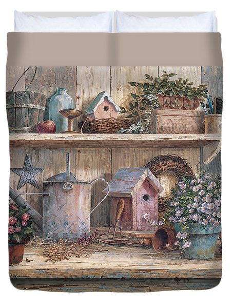 Duvet Cover featuring the painting Rhapsody In Rose by Michael Humphries