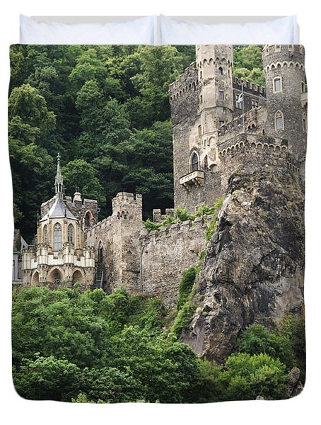 Rheinstein Castle Duvet Cover by Oscar Gutierrez