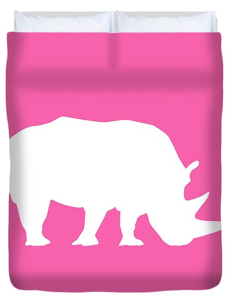 Rhino In Pink And White Duvet Cover