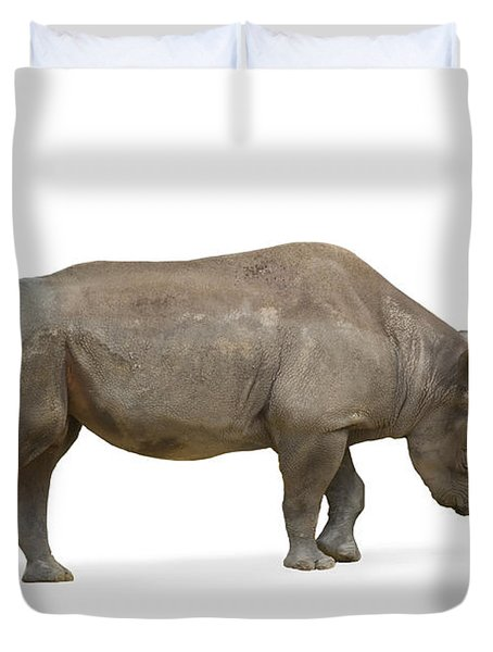 Duvet Cover featuring the photograph Rhinoceros by Charles Beeler