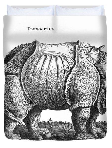 Rhinoceros No 76 From Historia Animalium By Conrad Gesner  Duvet Cover by Albrecht Durer