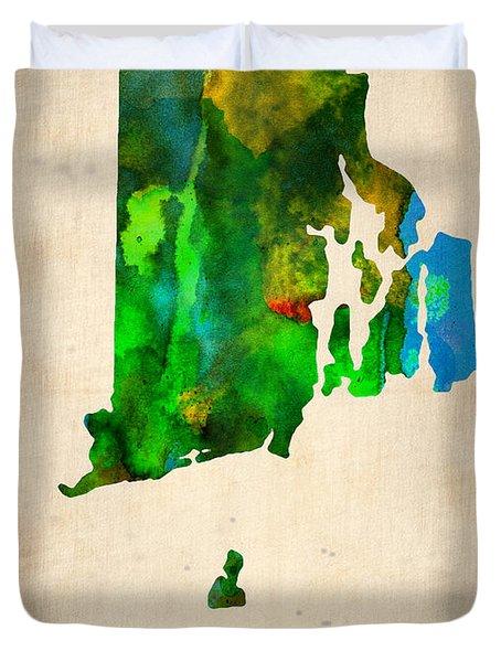 Rhode Island Watercolor Map Duvet Cover by Naxart Studio