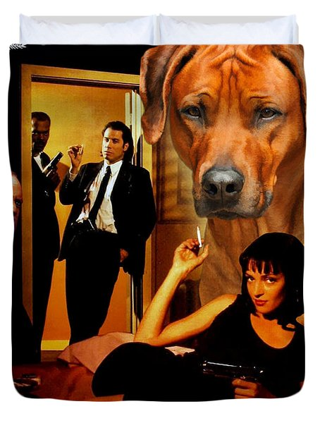 Rhodesian Ridgeback Art Canvas Print - Pulp Fiction Movie Poster Duvet Cover