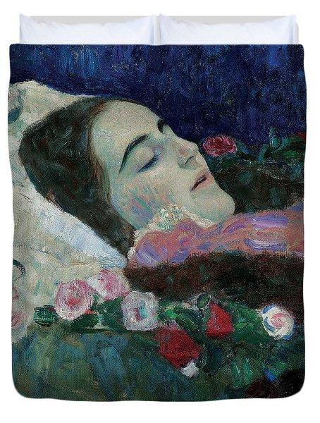 Ria Munk On Her Deathbed Duvet Cover by Gustav Klimt