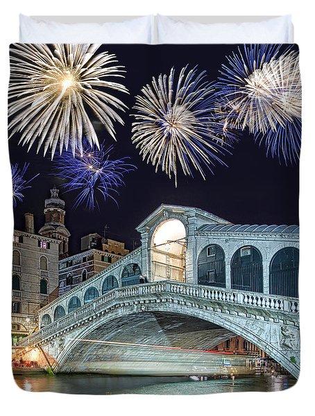 Rialto Bridge Fireworks Duvet Cover