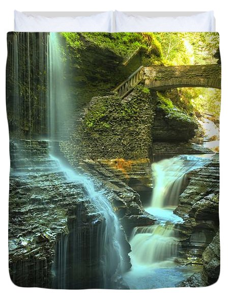 Rainbow Falls Watkins Glen Duvet Cover by Adam Jewell