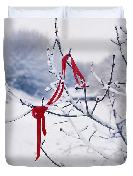 Ribbon In Tree Duvet Cover by Amanda Elwell