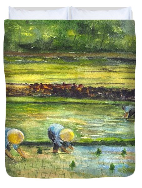 The Rice Paddy Field Duvet Cover