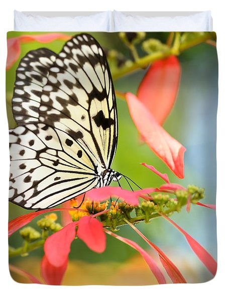 Rice Paper Butterfly In The Garden Duvet Cover