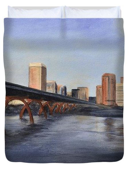 Duvet Cover featuring the painting Richmond Virginia Skyline by Donna Tuten