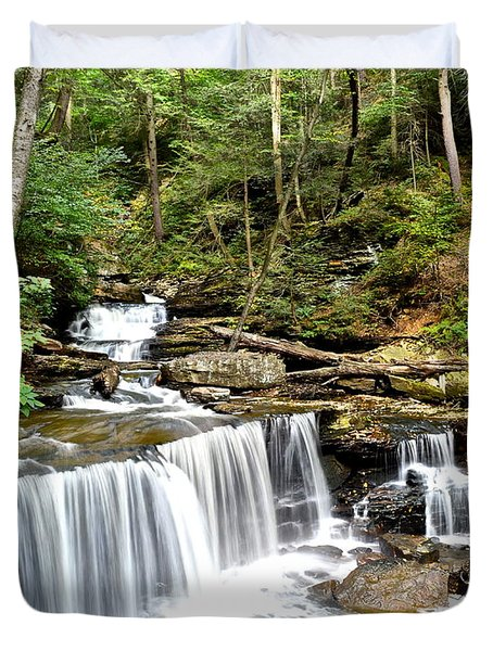 Ricketts Glen Delaware Falls Duvet Cover by Frozen in Time Fine Art Photography