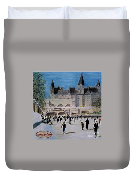 Rideau Canal Winterlude Duvet Cover by John Lyes