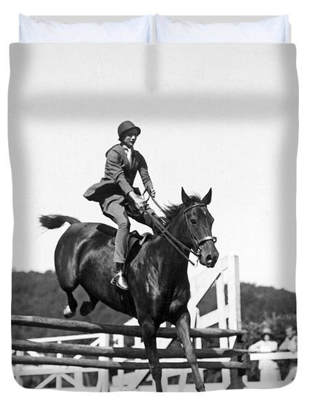 Rider Jumps At Horse Show Duvet Cover