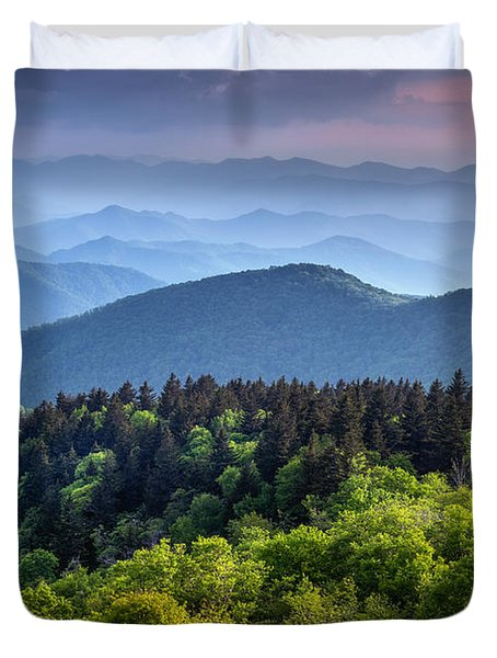 Ridges At Sunset Duvet Cover