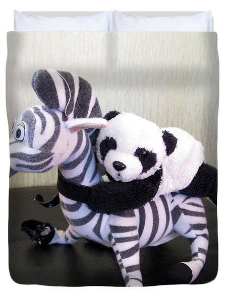 Duvet Cover featuring the photograph Riding A Zebra.traveling Pandas Series by Ausra Huntington nee Paulauskaite